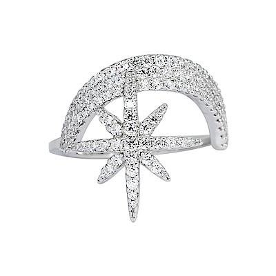 apm MONACO法國精品珠寶 閃耀銀色鑲鋯一千零一夜星芒戒指