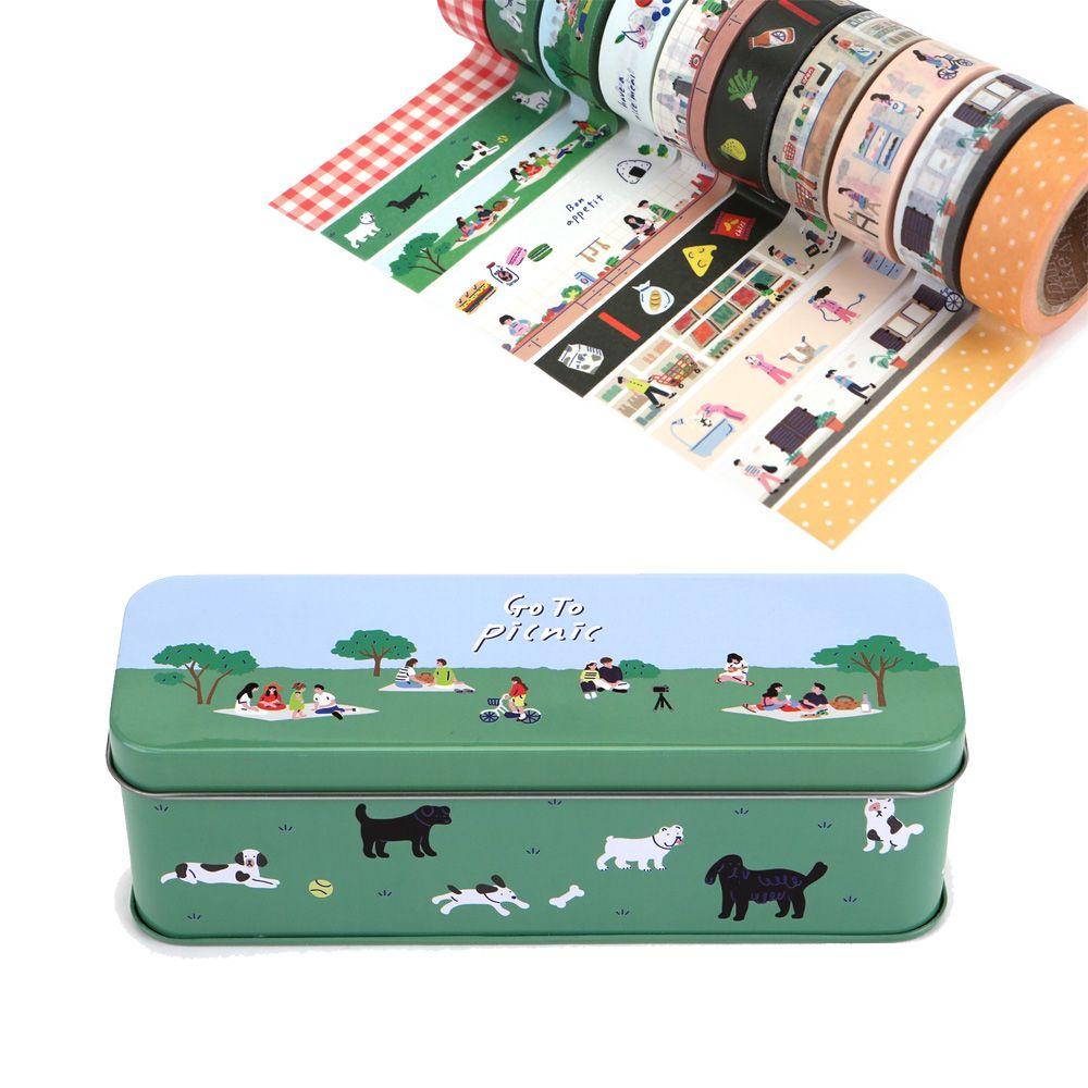 Dailylike 紙膠帶鐵盒組(10入)-02 去野餐吧