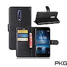 PKG Nokia8 側翻式皮套經典皮革-黑色