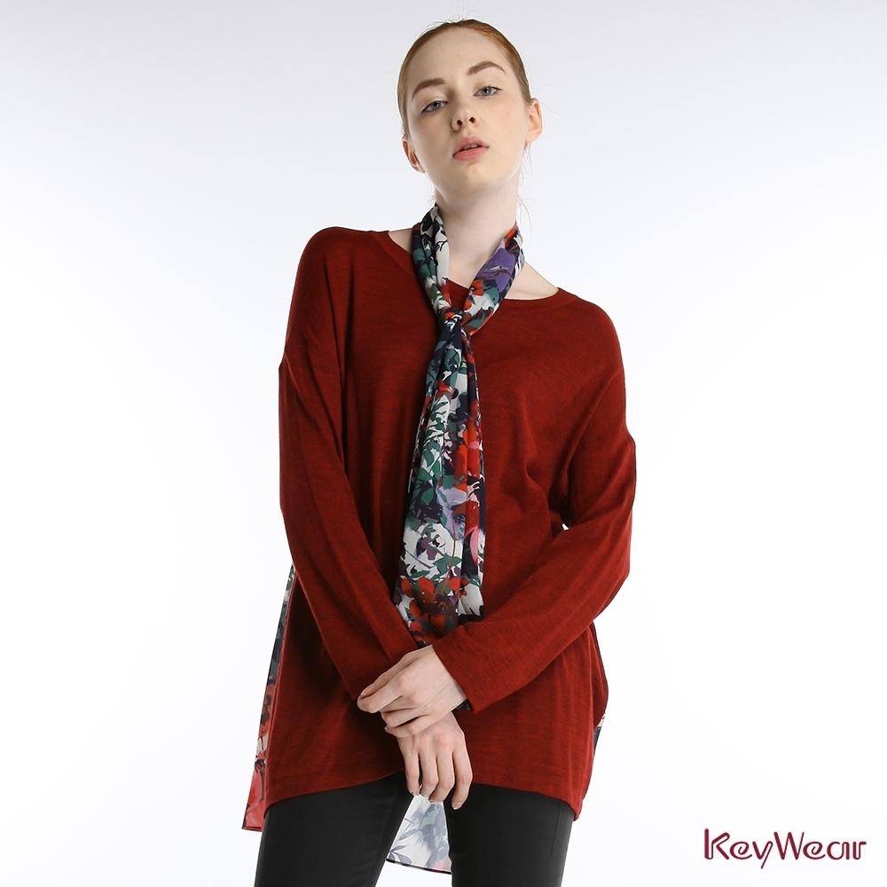 KeyWear奇威名品    都會毛衣剪接印花雪紡長袖上衣-暗紅色