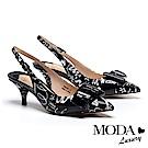 高跟鞋 MODA Luxury 個性創意飾釦後繫帶印花羊皮尖頭高跟鞋-黑