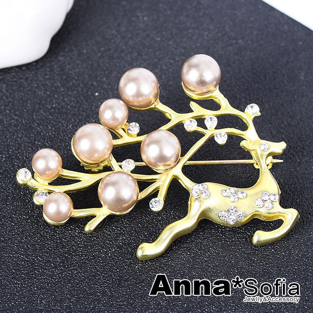【3件5折】AnnaSofia 麋鹿逐露珠 別針胸針(奢金系) @ Y!購物