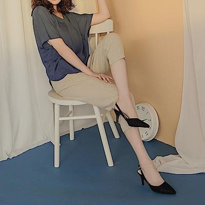 純色不易皺褲腳反褶俐落修身九分西裝長褲-OB大尺碼
