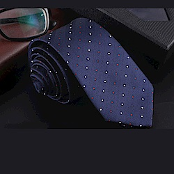 拉福   領帶中窄版領帶6cm領帶拉鍊領帶(兒童紅白點)