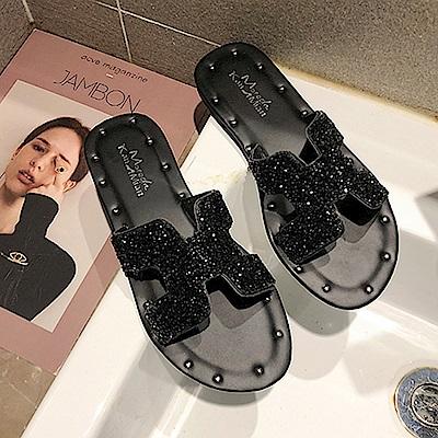 韓國KW美鞋館 好評加碼簡約平底拖鞋-黑色