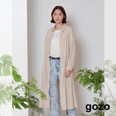 gozo-浪漫細褶輕薄洋裝(淺卡其)