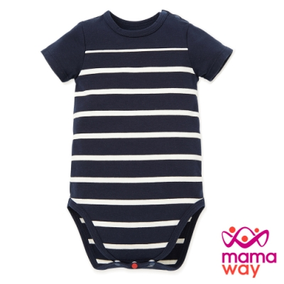 【mamaway 媽媽餵】BABY 色條拼接包屁衣(共2色)