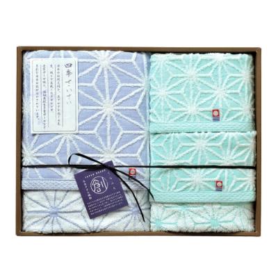 日本丸真 今治雪花毛巾經典三件組禮盒(洗臉巾+毛巾+浴巾)