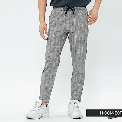 H:CONNECT 韓國品牌 男裝-格紋抽繩休閒褲-灰