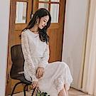 優雅蕾絲雕花微透膚長洋裝-OB嚴選