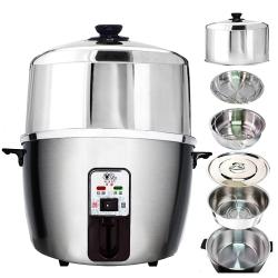 天蠶10人份不鏽鋼電鍋YL-10AA6(304不鏽鋼加高電鍋蓋+內鍋及鍋蓋+1高1低蒸盤)