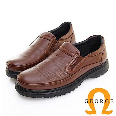 GEORGE 喬治皮鞋 輕量系列 圓頭素面鬆緊帶氣墊鞋 -咖