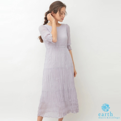 earth music 後綁帶抓皺分層式剪裁連身洋裝