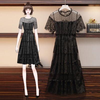 木耳領蕾絲高腰顯瘦網紗洋裝XL-5XL-KVOLL