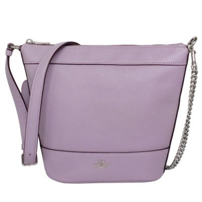 COACH薰衣草紫荔枝紋全皮鍊帶小款兩用水桶包