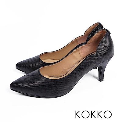 KOKKO - 精品手感波浪尖頭羊皮高跟鞋- 經典黑