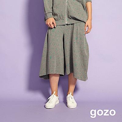 gozo 趣味造型印花七分寬褲(灰色)