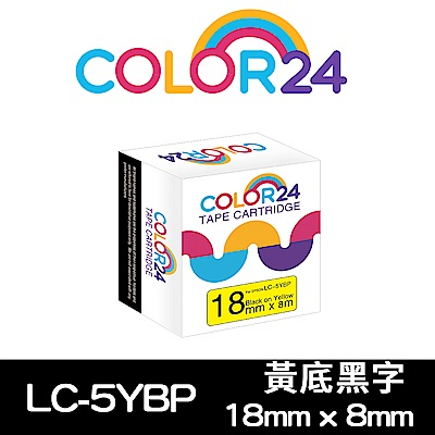 Color24 for Epson LC-5YBP 黃底黑字相容標籤帶(寬度18mm)