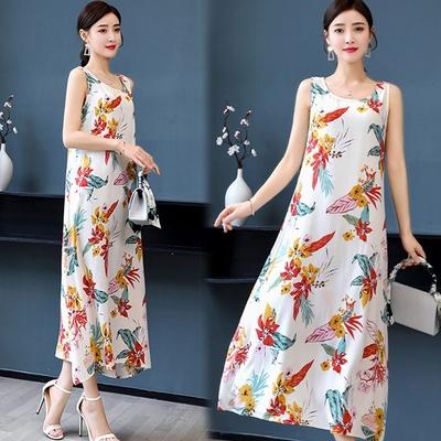 [韓國K.W.]-(預購)絲棉質感受月裡嫦娥莊園長洋裝