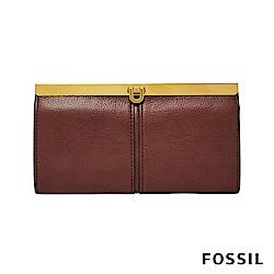 FOSSIL KAYLA 馬蹄型扣式手拿包-酒紅色