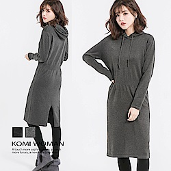 【KOMI】素色連帽針織毛衣洋裝(二色)