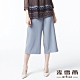 麥雪爾 純色造型織帶八分寬褲-灰 product thumbnail 1