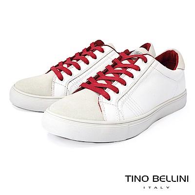OTTO KERN牛皮撞色拼接流線造型休閒鞋-紅白