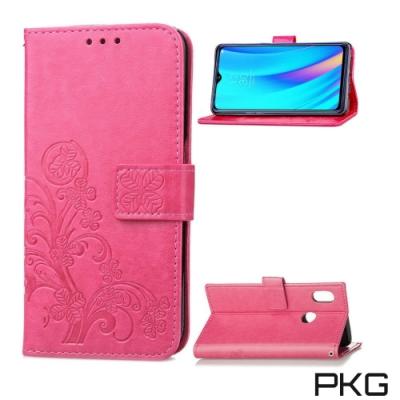 PKG Realme3 Pro 側翻式皮套-精選皮套系列-幸運草-玫紅