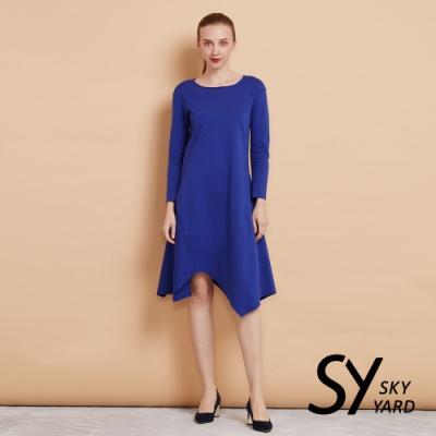【SKY YARD 天空花園】七分袖不規則下擺剪裁洋裝-中厚-深藍