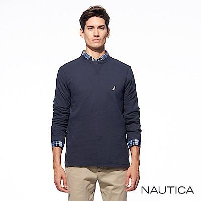 Nautica經典款素色長袖針織衫-深藍
