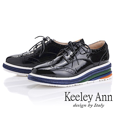Keeley Ann魔法秘密 真皮撞色延條厚底牛津鞋(黑色-Ann系列)