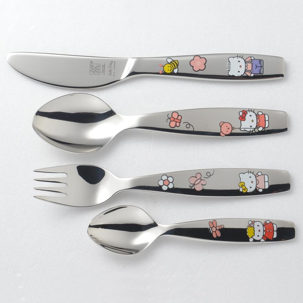 德國Zwilling 雙人牌 Hello Kitty 兒童餐具4件組