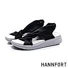 HANNFORT Ultra Comf 4D 輕盈綁結扭轉厚底拖鞋-女-黑