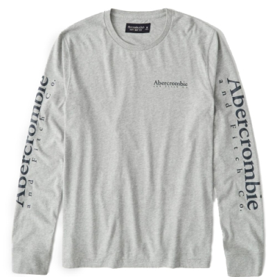 AF a&f Abercrombie & Fitch 男 長袖T恤 灰色 1480