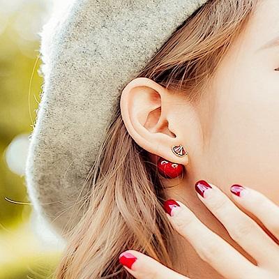 梨花HaNA 性感萊茵紅色鉚釘前後配戴耳環