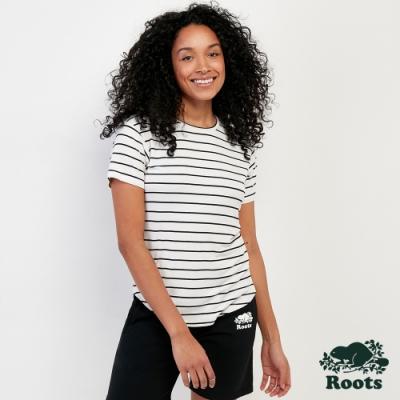 女裝Roots- 彈性短袖T恤-白色