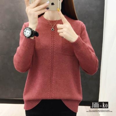 JILLI-KO 韓版純色圓領假口袋針織上衣- 卡/磚紅