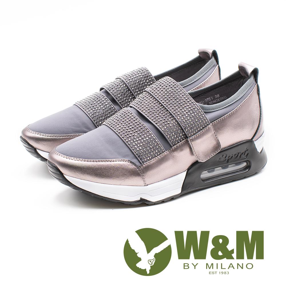 W&M(女)襪套式貼鑽彈力帶氣墊感增高 休閒鞋-銀(另有黑)