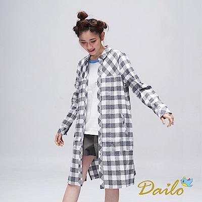 Dailo INLook 棋盤格紋拼接長版襯衫(灰色)