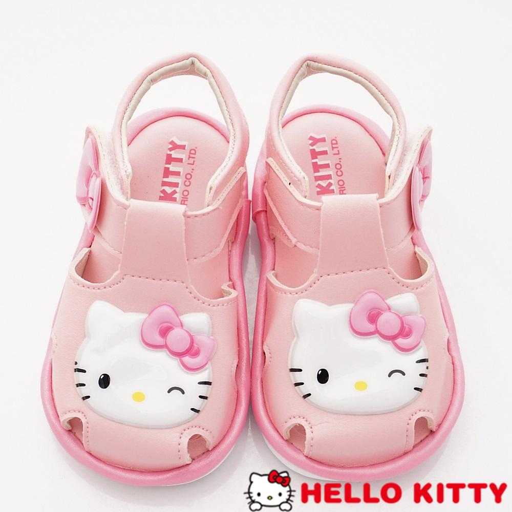 HelloKitty童鞋 淘氣凱蒂嗶嗶護趾涼鞋款 EI19203粉(小童段)