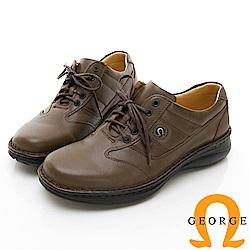 【GEORGE 喬治皮鞋】休閒系列 拼接運動休閒皮鞋-咖啡色
