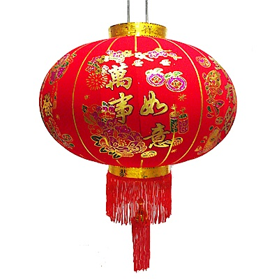 摩達客 農曆春節元宵-80cm萬事如意金線大紅燈籠