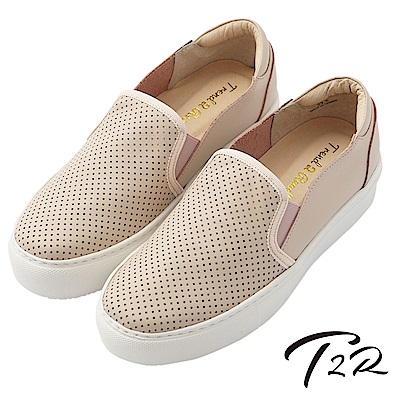 【T2R】真皮手工透氣舒適懶人鞋-粉