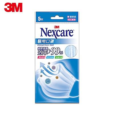 [限搶]3M Nexcare 成人醫用口罩 (粉藍 / 5片包)