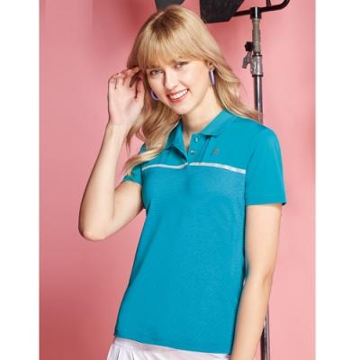 SPAR細橫條紋彈性女版短袖POLO衫S206217彩藍色