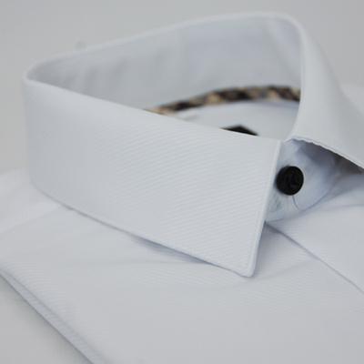 金‧安德森 經典格紋繞領白色細斜紋窄版短袖襯衫