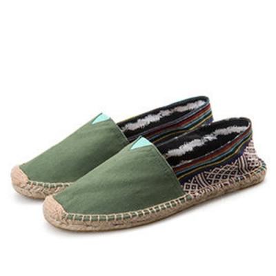 韓國KW美鞋館 (現貨+預購) 前綠後彩修歐美外銷草編休閒帆布鞋-綠