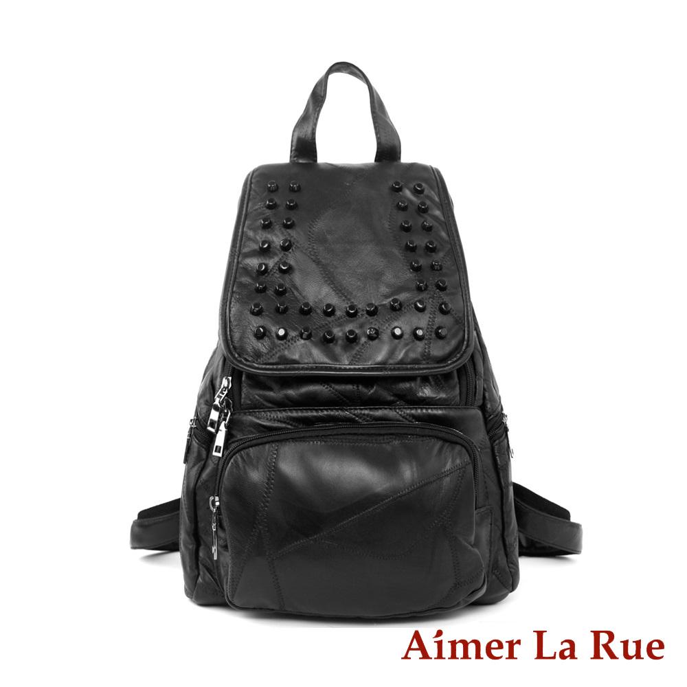 Aimer La Rue 亮感羊皮拼接鉚釘後背包-黑色(快) @ Y!購物