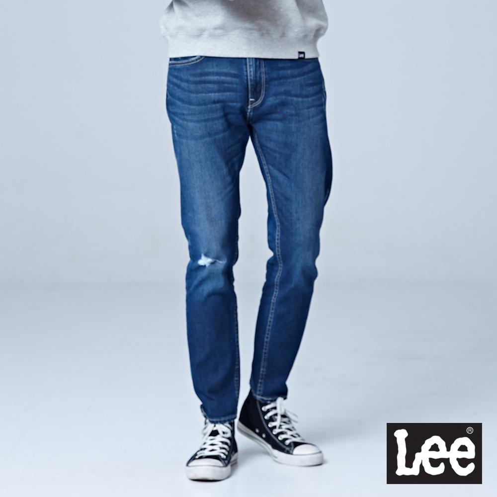 Lee 705中腰標準舒適小直筒牛仔褲-中藍色