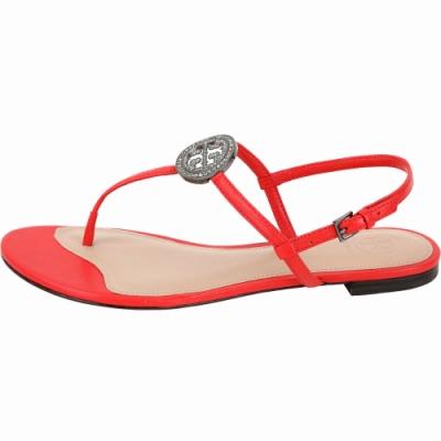 TORY BURCH Liana 鑽飾盾牌牛皮夾腳涼鞋(紅色)